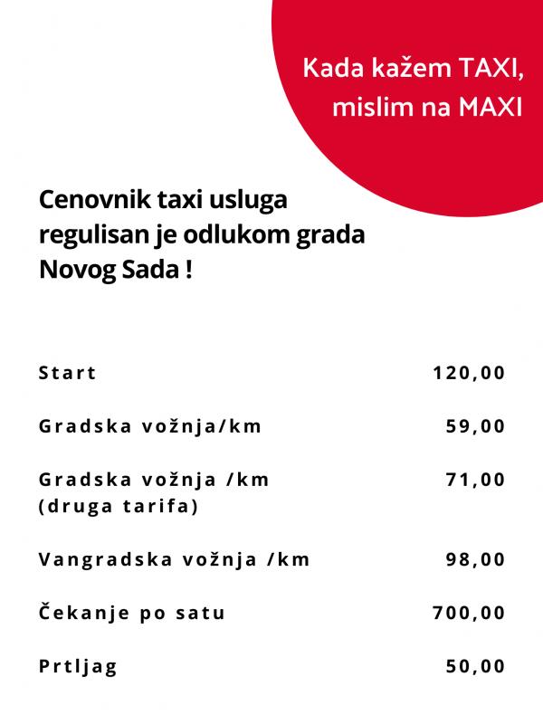 cenovnik maxi taxi novosadjana